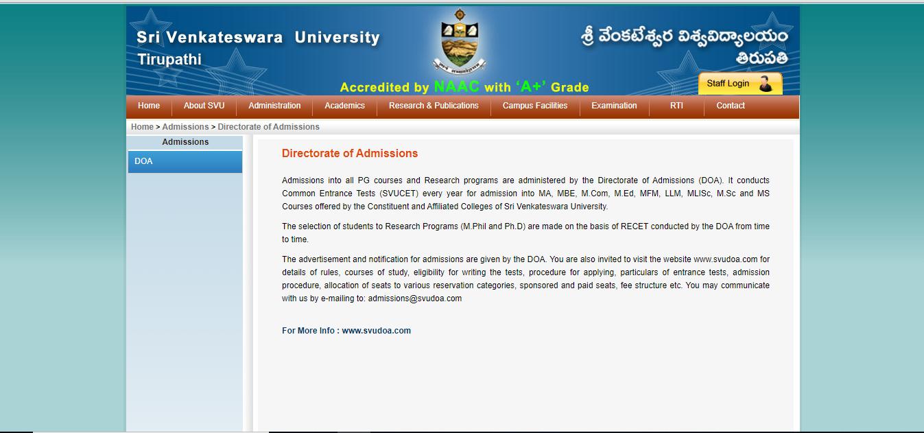 Sri Venkateswara University Admission 2020 Application Form Dates Study Woo
